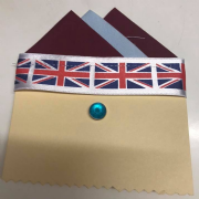 Burgundy & Pale Blue Pocket Hankie with Pin